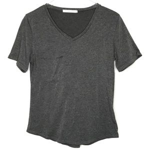 Funoc Gray V-Neck Curved Hem Tee Shirt A110291